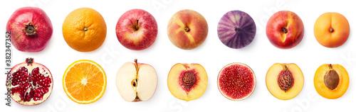 Obraz na plátně Set of fresh whole and sliced fruit halves