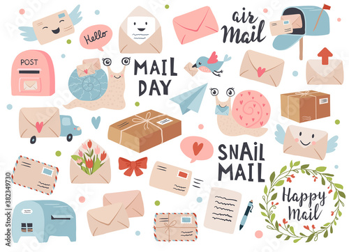 Foto Mail and post icon set with envelopes and snail cartoon