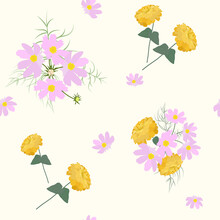 Seamless Floral Pattern. Cosmee And Zinnia.