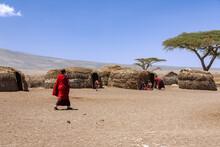 Massai Villagers With Their Da...