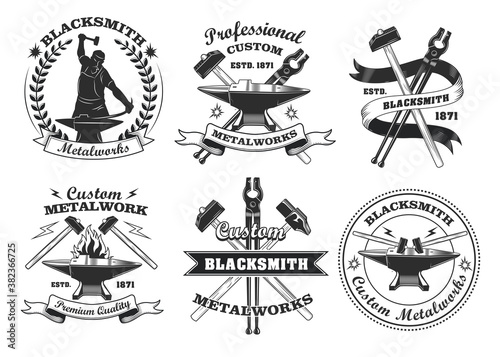 Photo Blacksmith labels set