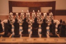 Closeup Shot Of A Chess Board With Chinese Pieces