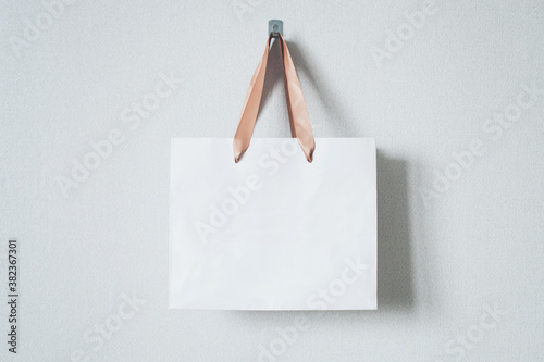 Mock-up of blank craft package, mockup of white paper shopping bag with handles Canvas