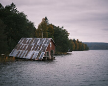 Old Broken Boathouse By The Se...