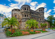 Amazing View Of Famous Porta Nigra (Black Gate) - Ancient Roman City Gate In Trier, Germany. UNESCO World Heritage Site