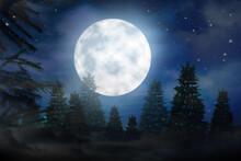 Fantasy Night. Full Moon In Sky Over Fir Forest