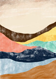 Creative minimalist hand painted. Abstract mountain landscape, Natural landscape background. Minimalist design for wall decoration, postcard or brochure design.vector illustration. - 382390140