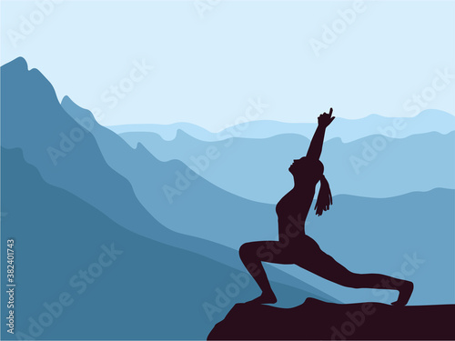 Fotografie, Tablou Silhouette of girl practising yoga