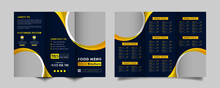 Food Trifold Brochure Menu Template. Vintage Fast Food Menu Brochure For Restaurant With Blue And  Yellow Color