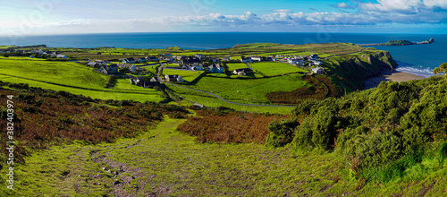 Gower Peninsular Rhossilli Bay Panoramic with Green Hills surrounding the Sandy Canvas Print