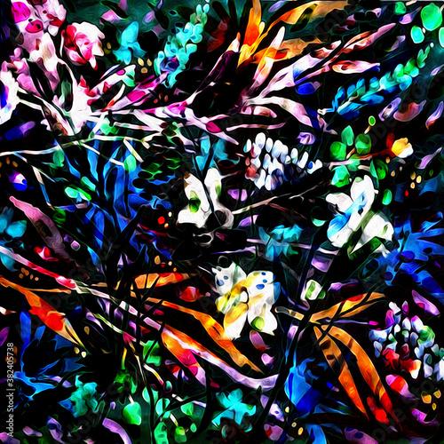 Floral watercolor mix texture modern pattern  © Graphics & textile