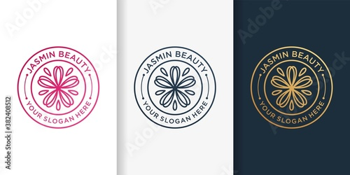 Jasmine logo with emblem line art style and business card design template Premiu Wallpaper Mural