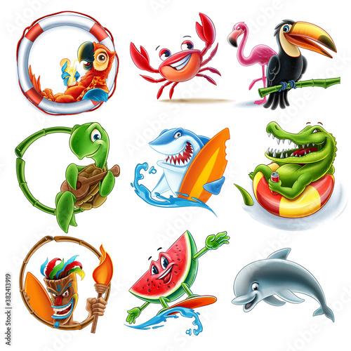 Naklejka premium set of animals for illustrated summer decorations
