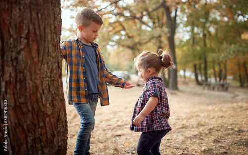 Fotografie, Obraz Brother and sister playing in the woods; Healthy childhood concept