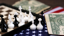 Chess And American Flag So Close