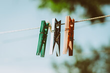 Close Up Of Three Clothes Peg ...