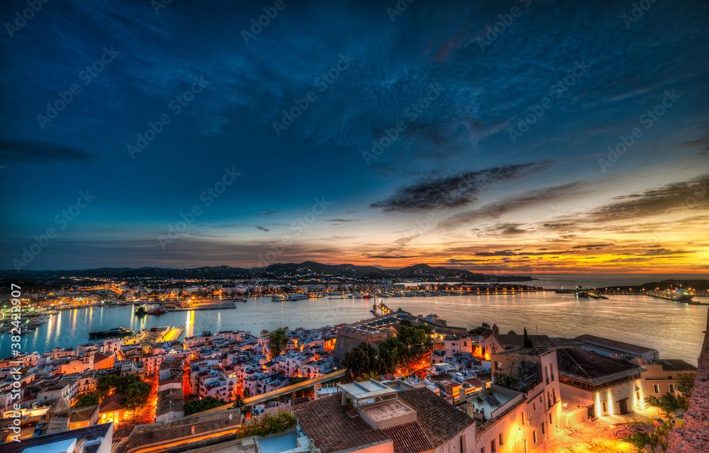 Fototapeta General view of Ibiza town