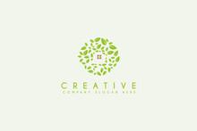 Nest With Leaf Illustration Logo Design Symbol Vector Template