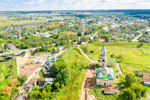 Aerial View Of The Staritsa Town And The Cathedral Of Boris And Gleb