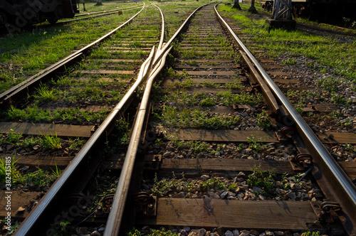 railway tracks in the countryside Fotobehang