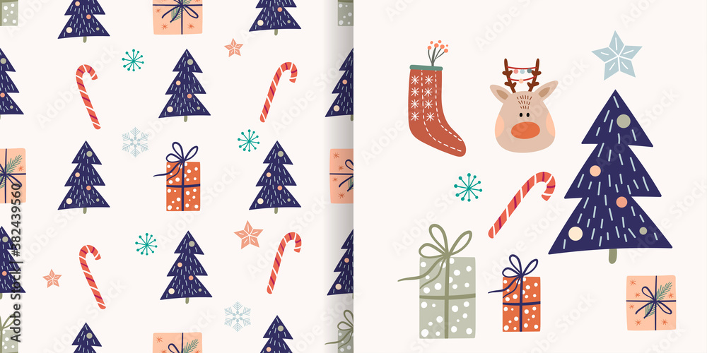Fototapeta Christmas set with seamless pattern and  winter elements, vector design