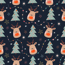 Christmas Seamless Pattern With Reindeer And Christmas Tree, Hand Drawn Elements, Winter Design