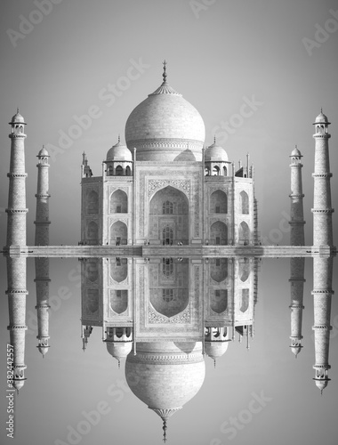 Black and white photo. Taj Maha Wallpaper Mural
