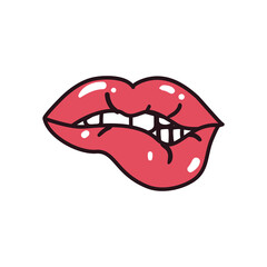 pop art female mouth biting line and fill style icon vector design
