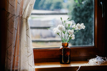 Small Vase With White Flowers On The Windowsill Close Up