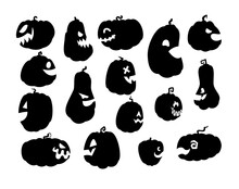 Halloween Pumpkin Black Sillhouette Side View Vector Illustrations Isolated On White Background. Scary Jack O Lantern Craft Stencil With Profile Face. Funny Jackolantern Decoration Template.