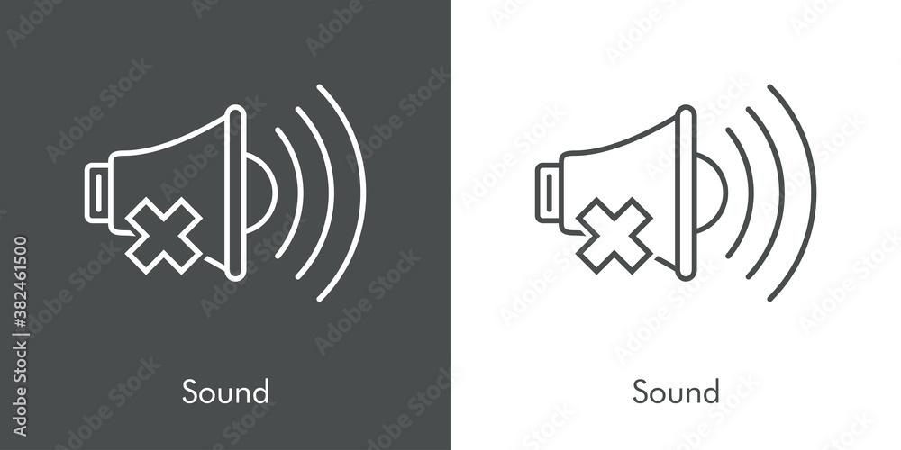 Fototapeta Símbolo sonido apagado. Silencio. Logotipo lineal altavoz con olas con aspa en fondo gris y fondo blanco