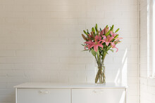 Pink Asiatic Lilies In Glass V...
