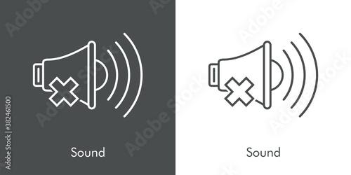 Obraz Símbolo sonido apagado. Silencio. Logotipo lineal altavoz con olas con aspa en fondo gris y fondo blanco - fototapety do salonu