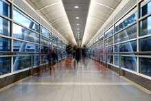 Pedestrians Walking In Airport Overpass, Melbourne Airport
