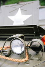 Headlight Of A Vintage Army Truck