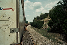 Riding A Freight Train Through Countryside