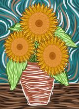 Impressionist Sunflower Flower...