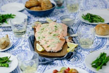 Horizontal Wide Shot Of Salmon Fillet At Dinner Party