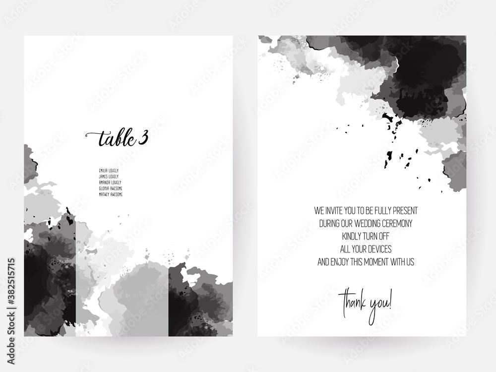 Fototapeta Black ink splashes vector design cards.