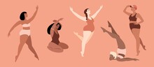 Multiracial Women Dressed In Lingerie Isolated Characters. Happy Girls. Body Positive. Love Your Body. Vector Illustration.