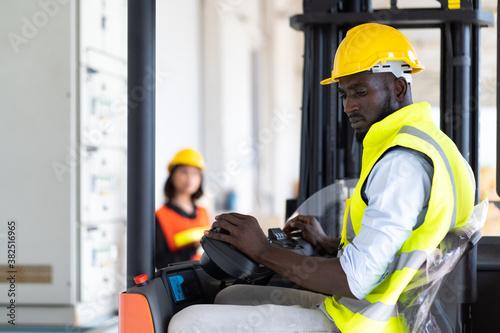 Fotografie, Tablou Warehouse man worker driver forklift