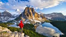 Hiker Person Overlooking Mount...