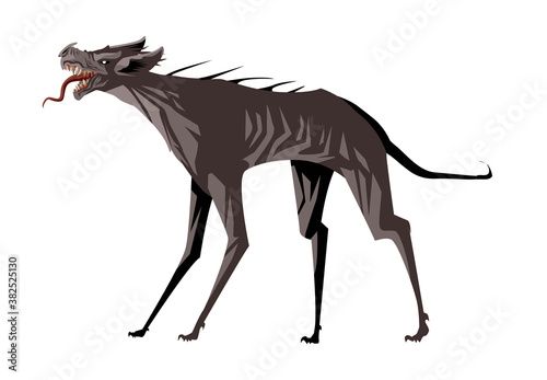 chupacabras vampire monster dog with meat Tableau sur Toile