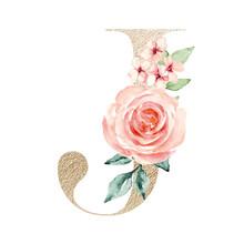 Letter J, Gold Letter, Floral ...