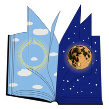 Nature As Open Book With Day And Night Pages. Juxtaposition Of Sun And Moon. Creative Concept For Nature And Knowledge.