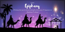 Vector Illustration Of Epiphany, Christian Festival, Three Wise Men On Camel, Bright Star, Nativity Of Jesus, Bokeh Background.