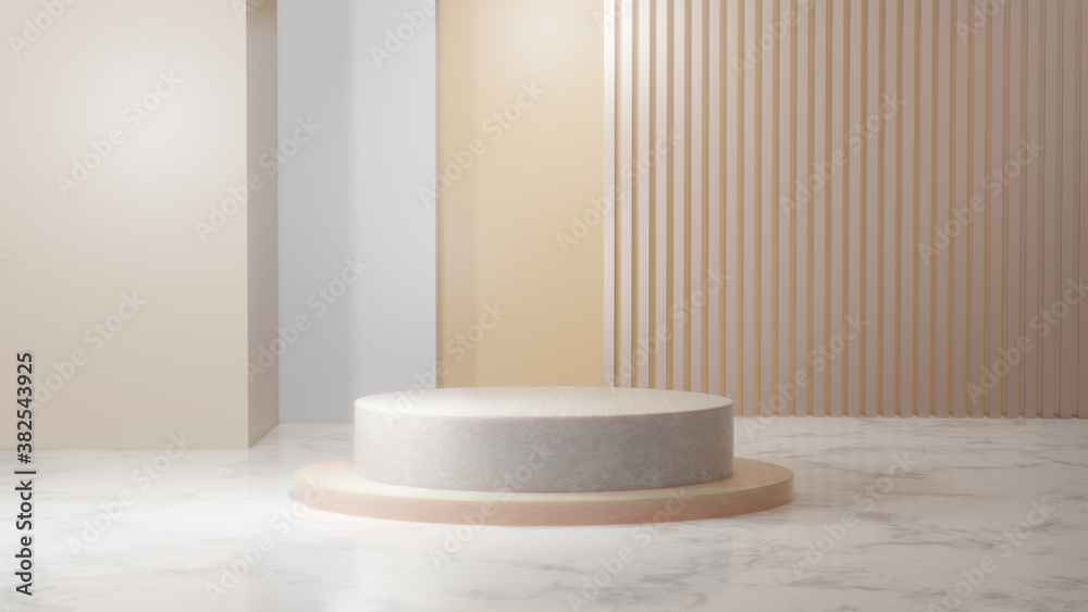 Fototapeta Minimal podium for Cosmetic background product stand presentation zoom in. 3d rendering