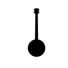 Grey Guitar Icon Isolated On W...