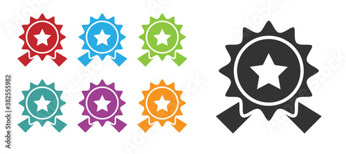 Cuadros en Lienzo Black Medal with star icon isolated on white background