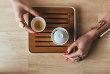 Caucasian Woman Drinks Tea